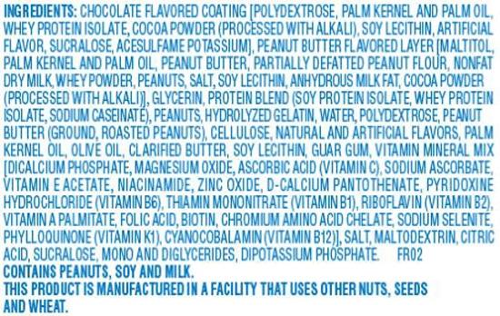 Atkins Advantage, liste des ingrédients