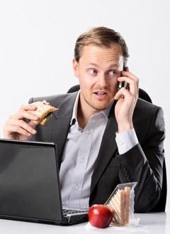 Homme affaires, manger, quoique, téléphone