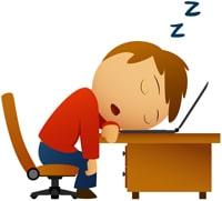 Caricature d'un homme endormi à son bureau