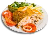 Farine de poisson sur une assiette