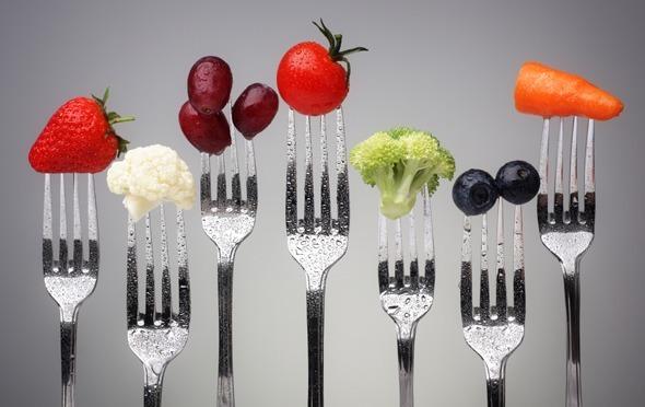 Fruits et légumes sur les fourches