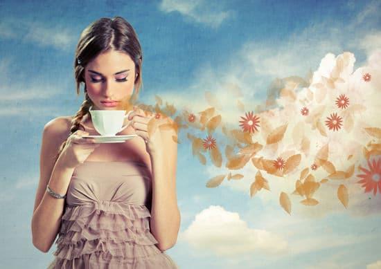 Girl, sentir, tasse café