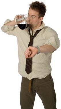 Homme, café buvant, depuis, pot
