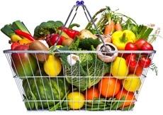 Panier plein de fruits et légumes