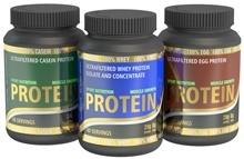 Trois types de poudre de protéines