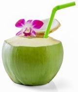 Jeune eau de coco avec paille et fleur